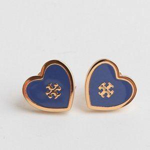 🔥Tory Burch Enamel glazed peach heart earrings